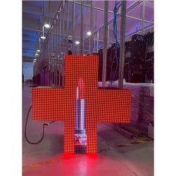 Piscina P8 Cruz LED Full-Color Exibir 768x768mm para farmácia