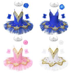 As crianças raparigas Esparguete Tiracolo Leotard Tutu vestir roupas de dança