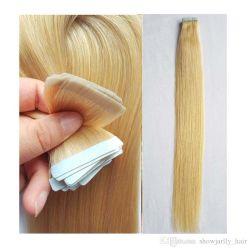 100% من الشريط البرازيلي ريمي الشعر البشري تمزق الشعر الأزرق القوي شريط لاصق 40PCS/شريط في الجلد Weft PU الشعر البشري