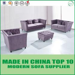 Diseño moderno estadounidense más reciente de tejido de terciopelo salón sofá Chesterfield