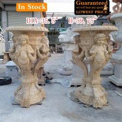 La sculpture sur pierre Pot de fleur en marbre jaune pour la maison de la décoration du semoir