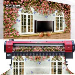 Mtutech 3.2 metros Eco Solvente Banner Flex Digital máquina de impressão com DX7 Chefes