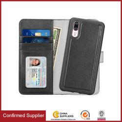 Huawei P20를 위한 분리가능한 셀룰라 전화 내역서 지갑 전화 상자