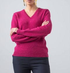 100% lambs-Wool أزياء V-neck Ladies بولوفر سويتر