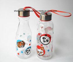 Sell quente fácil carreg a garrafa de água de vidro da criança do produto comestível com a tampa do metal de selo
