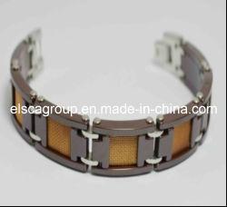 Luxe en acier inoxydable Marron + bracelet en céramique (BCE68)