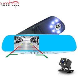 Voiture DVR Dash Cam Rétroviseur FHD Enregistreur vidéo 1080p double optique avec caméra Vue arrière auto Dashcam Registrator DVR