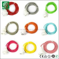 Vindima e27 Suporte da lâmpada da base da lâmpada de plástico com cabo de tecido