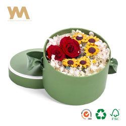 La Ronda de lujo de alta calidad de la flor del cilindro de Papel Caja de cartón Caja de regalo con tapa y el logotipo estampado en caliente