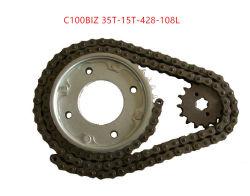 C100biz 428-108l 35t-15t 오토바이 체인 및 스프로킷 세트