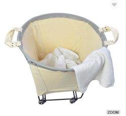 100 % Coton Canvas Panier à linge avec poignée de transport des roues, conteneur de vêtements usagés, blanchisserie Trolley en vrac