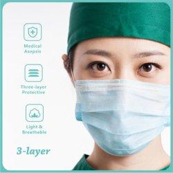 В наличии на складе завода Wholesales 3ply Earloop хирургической больницы перед лицом во рту маски одноразовые медицинские маску для лица с маркировкой CE FDA быстрая доставка