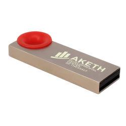 Metales Venta caliente de plástico rojo Regalo Anillo colgando Logotipo personalizado el disco USB flash