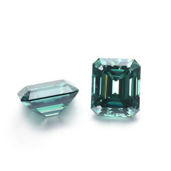 La couleur verte 12*10mm Emerald cut Pierre Moissanite desserrés