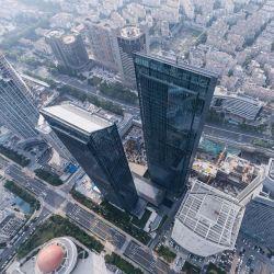 Aço e vidro Escritórios Prefab Aço Elevado a concepção dos edifícios