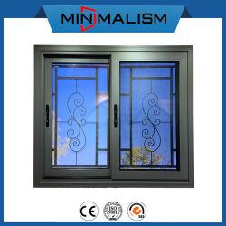 Los materiales de construcción de la ventana corrediza de aluminio con cristal de color gris de tamaño personalizado con 304# la tornillería de acero inoxidable Doble/Individual Hung Ventana deslizante