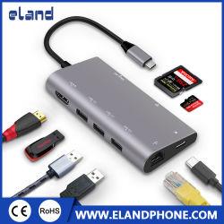 8 em 1 Tipo C catalisador 3.1 USB à entrada HDMI/USB3.0/RJ45/PD/SD/TF CATALISADOR