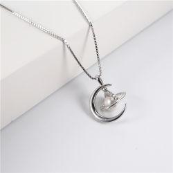 2020 Fashion 925 Sterling Bijoux en argent plaqué or Bijoux de Collier Pendentif personnalisé Moon Collier de perles pour les femmes