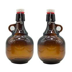 Precio barato Gran capacidad 2L 64oz Amber Glass Water Growler Jarra para botella de whisky con tapa Swing Tapones