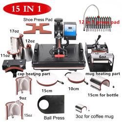 15 en 1 Double affichage de la sublimation thermique de plume/Hot Appuyez sur T-shirt de la machine pour l'imprimante de transfert de chaleur mug/cap/caisson de nettoyage/Pen/Combo Football/collier de la chaleur Appuyez sur la machine