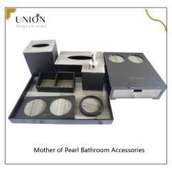 Mezcla de acrílico ecológica Nácar accesorios de baño con Jabonera cuadro tejido del vaso de loción de accesorios de baño Decoración