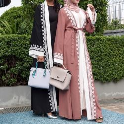 سعر متواضع في بطولة دبي المفتوحة الأنيقة السعودية العصرية السوداء أبايا نقاب ملابس السيدات، كيمونو حجاب، ثوب حجري