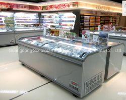 スーパーマーケットはカーブのガラスドアのコンバインの島のフリーザーの自動霜を取り除く