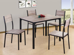Uni-Homes 5 PC de jeu de table à manger moderne en bois Salle à manger ensemble châssis métallique fixé pour le chinois en bois Meubles de salle à manger Table et chaise Factory Direct