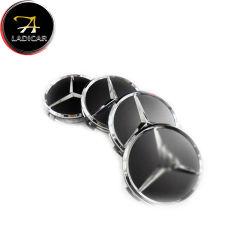 Schwarzes silbernes Rad-Mitte-Schutzkappen-Abwechslungs-Emblem-Abzeichen des Kohlenstoff-75mm für MERCEDES-BENZ