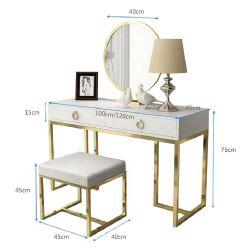أثاث فاخر من غرفة النوم طاولة فساتين بيضاء عالية اللمعان