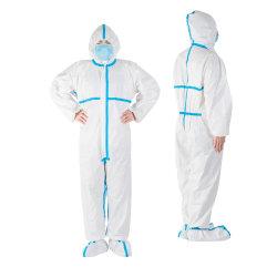 Средства индивидуальной защиты в соответствии с маркировкой Coverall защиты безопасности химических веществ с голубым крестом продукты поставщиков антивирусного одноразовые безопасности больницы защитную одежду для всего тела