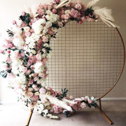現代イベントの段階の家具のアクリルの花の形の壁の装飾の円形の結婚式の背景幕