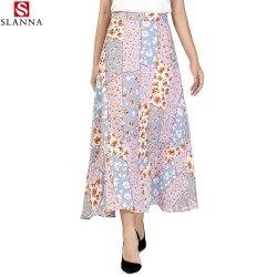 縞の花のGeoプリント女性偶然の方法余暇の中間長さのスカート