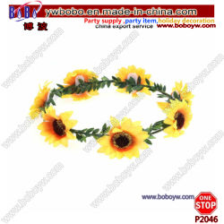 Girassol Boho Garland Coroa Floral de tafetá Hairband Ajustável Beach Party Decoração de Casamento (P2046)