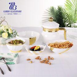 ديكور ذهبي فاخر مقاوم للحرارة، زجاج أوبال دينير أبيض أوبال إبريق مع غطاء أوبال أوكل بالجملة