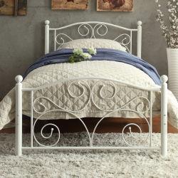 سرير أبيض تحفي من الحديد مفرد معدني