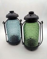 Portavelas de vidrio con asa metálica para Velas LED o