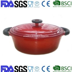 El rojo de hierro fundido esmaltado Cazuela con el mango Protector