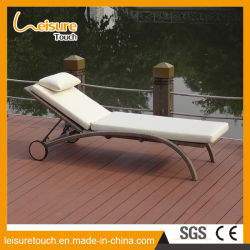 Jardin meubles de rotin de loisirs de plein air/l'Osier patio salon de la plage Piscine repliable facilement réglable Chaise longue avec des roues