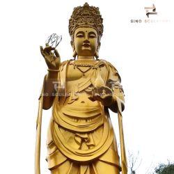 Statua di Avalokitesvara Buddha di religione del rame del foglio di oro per il tempiale