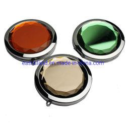 Рекламные Crystal зеркало заднего вида/складные раунда компактный наружного зеркала заднего вида/Мелкие металлические макияж зеркальце