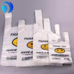 カスタム印刷のHDPE LDPE PLA Pbatのトウモロコシ澱粉のOkの合成物の微笑の表面はショッピングスーパーマーケットの記憶装置のモールの生物分解性のCompostable Tシャツのポリ袋感謝する