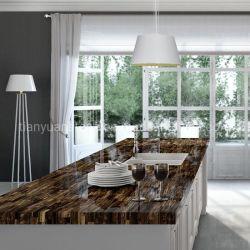 Bancada de cozinha Laje de Pedra de luxo e design do tampo da mesa de Pedra Olho do Tigre Amarela