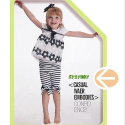 Sommer gedruckte Tulle-Spitzenhemden und Streifen-Baumwollhosen für Kind-Abnützung