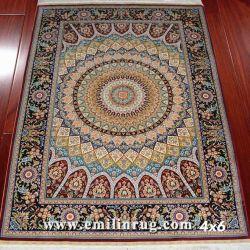 100% 순수하게 실크 카펫은 손으로 매듭지었고 이란 페르시아(이란산)를 만들었습니다 메달 디자인 400L