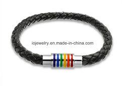 Jóias entrançada personalizadas de couro preto bracelete trançada