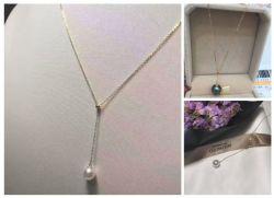 Collier en or jaune 18k, 14k Collier or jaune, eau de mer Collier de perles, l'eau douce collier de perles, de la mode des bijoux, de collier de perles