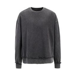 Terry Crewneck Pesado de tamanho personalizado de algodão puro ácido negro Vintage lavados agasalho homens