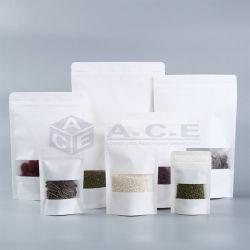Imballaggio per alimenti dell'alimento della chiusura lampo della serratura del regalo di superficie industriale bianco autosigillante biodegradabile all'ingrosso dei sacchi di carta