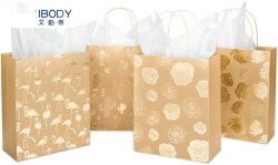 Borsa regalo personalizzata in carta Kraft riciclata con lamina Golden Monstera/Cactus/Rose/Flamingo Borsa regalo di design con asciugamano di carta per lo shopping